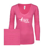 ENZA Ladies Hot Pink Long Sleeve V Neck Tee-Susan G. Komen Race for the Cure