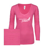 ENZA Ladies Hot Pink Long Sleeve V Neck Tee-Susan G. Komen 3-Day