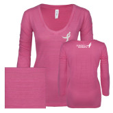 ENZA Ladies Hot Pink Long Sleeve V Neck Tee-Ribbon White Soft Glitter