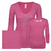 ENZA Ladies Hot Pink Long Sleeve V Neck Tee-Ribbon Rhinestone