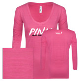 ENZA Ladies Hot Pink Long Sleeve V Neck Tee-Pink More Than A Color