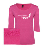 Ladies Dark Fuchsia Heather Tri Blend Lace 3/4 Sleeve Tee-Susan G. Komen 3-Day