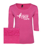 Ladies Dark Fuchsia Heather Tri Blend Lace 3/4 Sleeve Tee-Susan G. Komen Race for the Cure