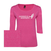 Ladies Dark Fuchsia Heather Tri Blend Lace 3/4 Sleeve Tee-Susan G. Komen