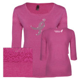 Ladies Dark Fuchsia Heather Tri Blend Lace 3/4 Sleeve Tee-Ribbon Rhinestone