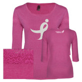 Ladies Dark Fuchsia Heather Tri Blend Lace 3/4 Sleeve Tee-Ribbon White Soft Glitter