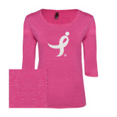 Ladies Dark Fuchsia Heather Tri Blend Lace 3/4 Sleeve Tee-Ribbon