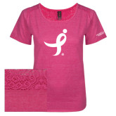 Ladies Dark Fuchsia Heather Tri-Blend Lace Tee-Ribbon