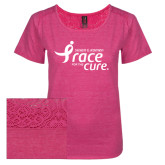 Ladies Dark Fuchsia Heather Tri-Blend Lace Tee-Susan G. Komen Race for the Cure