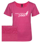 Ladies Dark Fuchsia Heather Tri-Blend Lace Tee-Susan G. Komen 3-Day