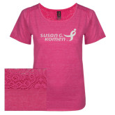 Ladies Dark Fuchsia Heather Tri-Blend Lace Tee-Susan G. Komen