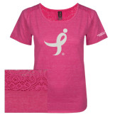 Ladies Dark Fuchsia Heather Tri-Blend Lace Tee-Ribbon White Soft Glitter
