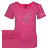 Ladies Dark Fuchsia Heather Tri-Blend Lace Tee-Ribbon Rhinestone