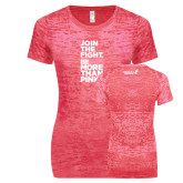 Next Level Ladies Junior Fit Fuchsia Burnout Tee-Join The Fight.