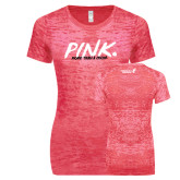 Next Level Ladies Junior Fit Fuchsia Burnout Tee-Pink More Than A Color