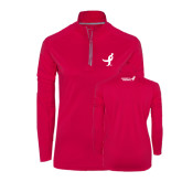 Ladies Pink Raspberry Sport Wick Textured 1/4 Zip Pullover-Ribbon