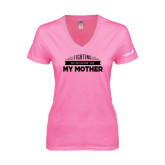 Next Level Ladies Junior Fit Deep V Pink Tee-Fighting In Honor Of...