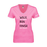 Next Level Ladies Junior Fit Deep V Pink Tee-Walk Run Finish