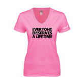 Next Level Ladies Junior Fit Deep V Pink Tee-Everyone Deserves A Lifetime - Splatter