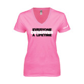Next Level Ladies Junior Fit Deep V Pink Tee-Everyone Deserves A Lifetime - Stitched
