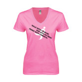 Next Level Ladies Junior Fit Deep V Pink Tee-Walk With Courage