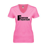 Next Level Ladies Junior Fit Deep V Pink Tee-Forever Fighter