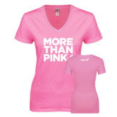Next Level Ladies Junior Fit Deep V Pink Tee-More Than Pink
