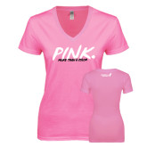 Next Level Ladies Junior Fit Deep V Pink Tee-Pink More Than A Color