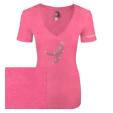 Next Level Ladies Vintage Pink Tri Blend V-Neck Tee-Ribbon Rhinestone