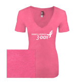 Next Level Ladies Vintage Pink Tri Blend V-Neck Tee-Susan G. Komen 3-Day