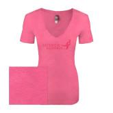 Next Level Ladies Vintage Pink Tri Blend V-Neck Tee-Susan G. Komen