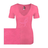 Next Level Ladies Vintage Pink Tri Blend V-Neck Tee-Ribbon