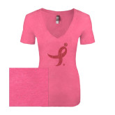 Next Level Ladies Vintage Pink Tri Blend V-Neck Tee-Ribbon Pink Glitter