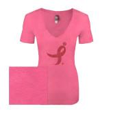 Next Level Ladies Vintage Pink Tri Blend V-Neck Tee-Ribbon Pink Glitter