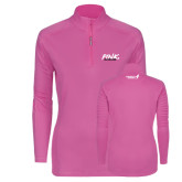 Ladies Syntrel Interlock Raspberry 1/4 Zip-Pink More Than A Color