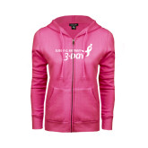 ENZA Ladies Fuchsia Fleece Full Zip Hoodie-Susan G. Komen 3-Day