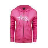ENZA Ladies Fuchsia Fleece Full Zip Hoodie-Susan G. Komen Race for the Cure