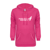 ENZA Ladies Hot Pink V Notch Raw Edge Fleece Hoodie-Susan G. Komen