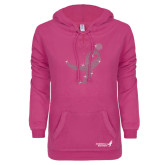 ENZA Ladies Hot Pink V Notch Raw Edge Fleece Hoodie-Ribbon Rhinestone