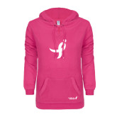 ENZA Ladies Hot Pink V Notch Raw Edge Fleece Hoodie-Ribbon