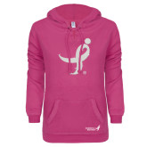ENZA Ladies Hot Pink V Notch Raw Edge Fleece Hoodie-Ribbon White Soft Glitter