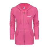 ENZA Ladies Hot Pink Light Weight Fleece Full Zip Hoodie-Susan G. Komen