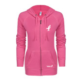 ENZA Ladies Hot Pink Light Weight Fleece Full Zip Hoodie-Ribbon