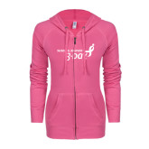 ENZA Ladies Hot Pink Light Weight Fleece Full Zip Hoodie-Susan G. Komen 3-Day