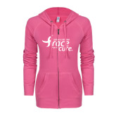ENZA Ladies Hot Pink Light Weight Fleece Full Zip Hoodie-Susan G. Komen Race for the Cure