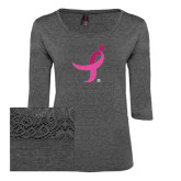 Ladies Charcoal Heather Tri Blend Lace 3/4 Sleeve Tee-Ribbon