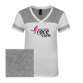 Ladies White/Heathered Nickel Juniors Varsity V Neck Tee-Susan G. Komen Race for the Cure