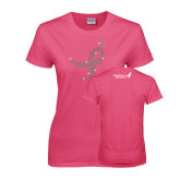 Ladies Fuchsia T Shirt-Ribbon Rhinestone