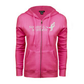 ENZA Ladies Coral Light Weight Fleece Full Zip Hoodie-Susan G. Komen