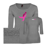 Ladies Grey Heather Tri Blend Lace 3/4 Sleeve Tee-Ribbon